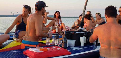 dégustation de vins sur paddle